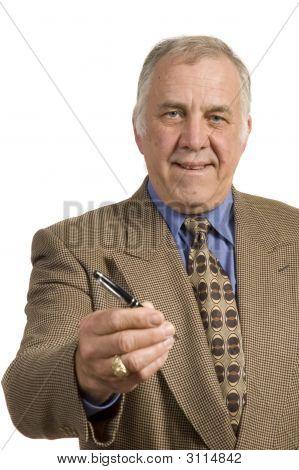 Older Salesman With Pen