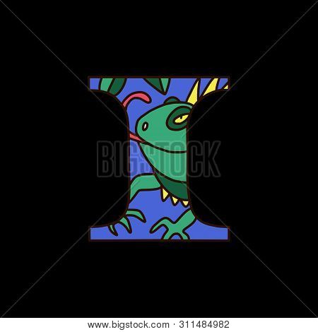 Serif Alphabet Letter I With Colored Cartoon Iguana. Fine For Posters, Visual Aids And Study Books F