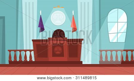 Court Building Interior With Empty Courtroom. Trial Process