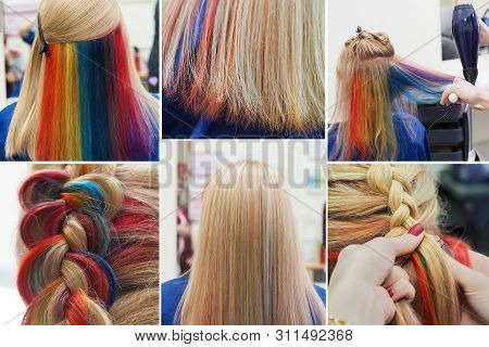 Collage Of Multi-colored Hair. Colored Staining Of The Hair.