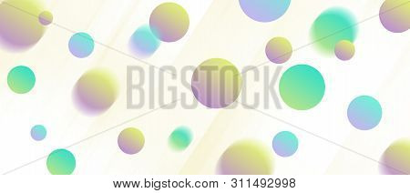 Abstract Flying Shapes (circles) Background. Motion Blur Effect