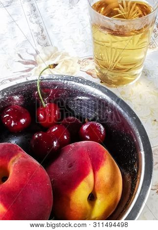 The Romantic Image Of The Heart And Copper Glass With A Cherry
