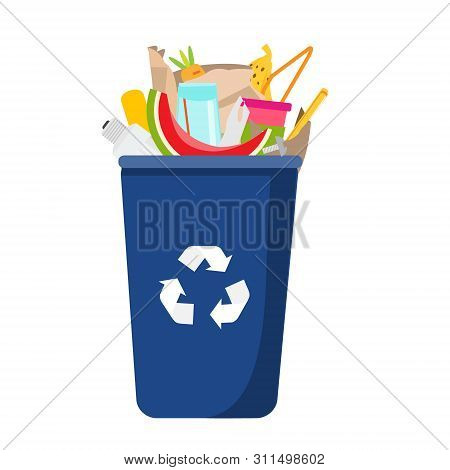 Garbage Can With Trash Inside. Can With Plastic, Glass, Organic Waste And Other Household Rubbish In