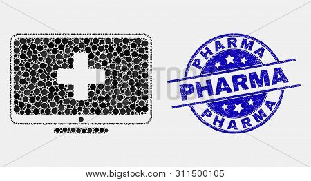 Pixel Computer Medicine Mosaic Icon And Pharma Seal Stamp. Blue Vector Rounded Grunge Seal Stamp Wit