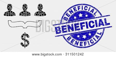 Pixel Customer Sales Funnel Mosaic Pictogram And Beneficial Stamp. Blue Vector Rounded Textured Stam