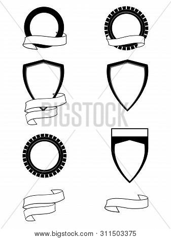 Heraldry Set Of Six Different Blank Shield To Personalize And Two Blank Personalizable Copy Space Ba