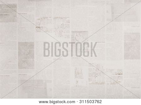 Vintage Grunge Newspaper Paper Texture Background. Blurred Old News Background. A Blur Unreadable Ag