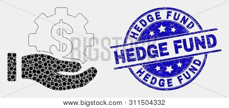 Pixel Financial Service Offer Hand Mosaic Icon And Hedge Fund Watermark. Blue Vector Rounded Distres