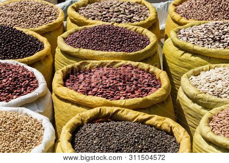 Different Kinds Of Legumes Beans In Bulk Bags On The Market In Yangon, Myanmar