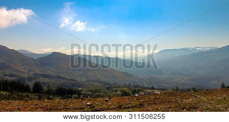 Amazing Mountain View During The Sunrise At Geres National Park In Portugal