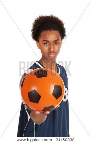 Black basketball player with ball