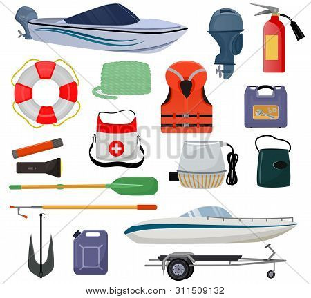 Boat Equipment Vector Motorboat Yacht With Life-vest Lifebuoy Anchor Illustration Marine Set Of Naut