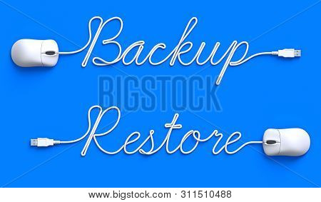 Backup - Restore Concept With Mouse And Cable - 3d Illustration