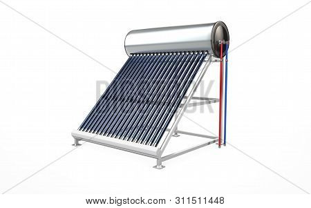 Solar Water Heater, Alternative Energy. 3d Rendering