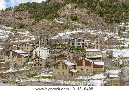 Cityscacpe In Pal In Winter , La Massana, Andorra.