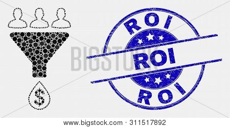 Dot Sales Funnel Mosaic Icon And Roi Watermark. Blue Vector Round Textured Watermark With Roi Phrase