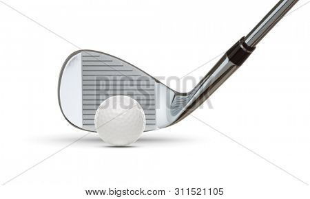 Chrome Golf Club Wedge Iron and Golf Ball on White Background.