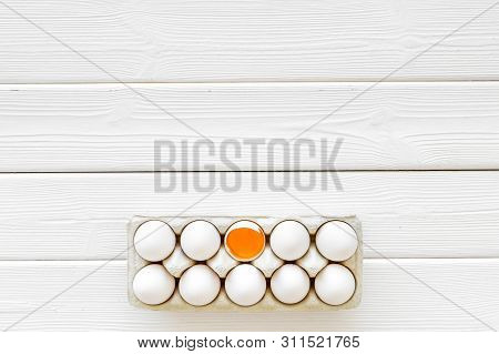 Farm Products Design For Blog With Eggs On White Wooden Background Top View Space For Text