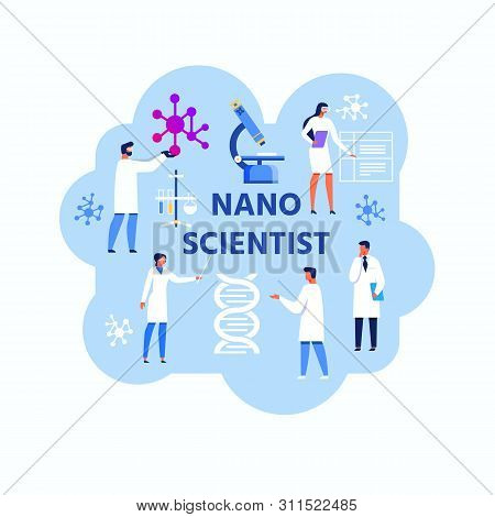 Nano Scientist Abstract Advertising Flat Banner. Vector Male And Female Doctors And Experts In White