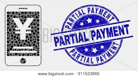 Pixel Yen Mobile Banking Mosaic Icon And Partial Payment Stamp. Blue Vector Round Distress Seal Stam