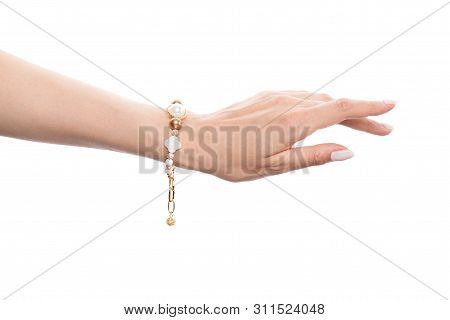 Jewelry Bracelet With Nacre, Pearls And Gold Beads Isolated On White Background