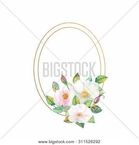 Flowers Of White Rose Hips, Red Fruits, Green Leaves, The Composition In A Geometric Golden Frame. F