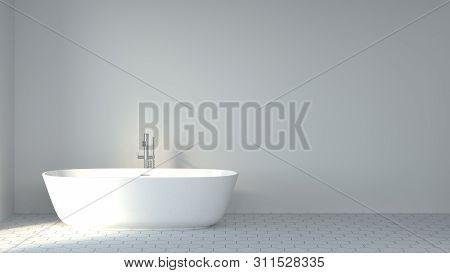 Clean Bathroom White Wall Minimalist Scandinavian Design 3d Rendering,interior Decoration Of The Bat