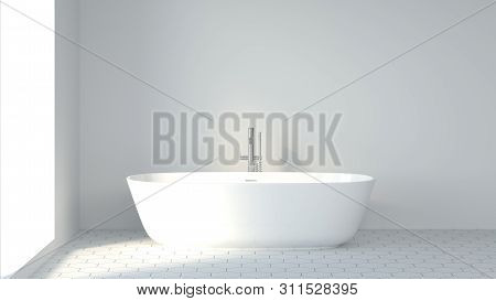 Minimalist Clean Bathroom White Wall Background Image Decor 3d Rendering, Scandinavian Design Style