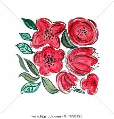 Watercolor Hand Painted Floral Composition. Red Flowers In Modern Style. Perfect For Cards, Posters