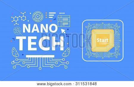 Nano Tech Lettering Advertising Abstract Flat Banner. Vector Illustration On Blue Copy Space. Nanote