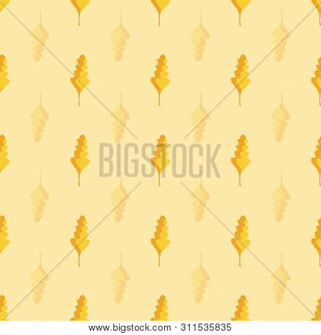 Beautiful Hand Drawn Gold And Orange Oak Leaves In Geometric Design. Seamless Vector Pattern On Warm