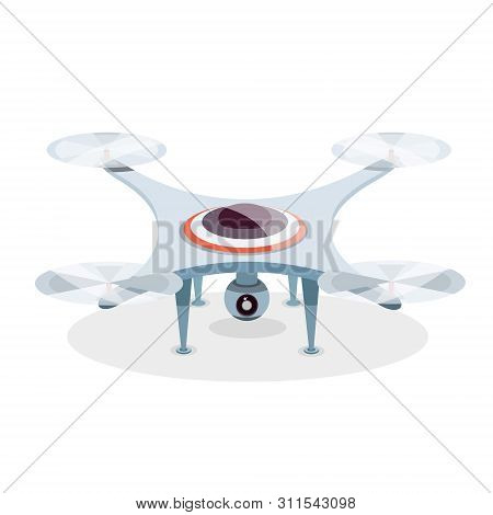 Business drone with action camera created video and photo. Photography-copter, Quadcopter, multicopter. poster