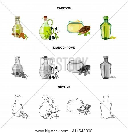 Vector Illustration Of Healthy And Vegetable Logo. Set Of Healthy And Agriculture Vector Icon For St