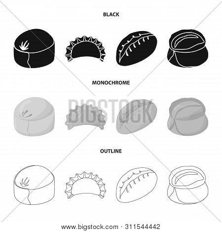 Vector Illustration Of Products And Cooking Sign. Collection Of Products And Appetizer Stock Symbol