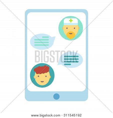 Doctor Online Concept. Patient Chatting With Doctor. Medical Emergency Support Service In Phone Appl