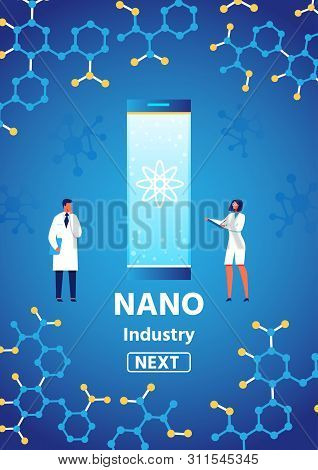 Nano Industry Presenting Text On Vertical Banner With Man Researcher And Woman Scientist Working On