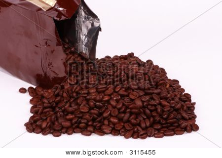 Spilled Bag Of Coffee Beans