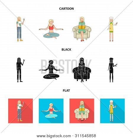 Vector Illustration Of Posture And Mood Icon. Set Of Posture And Female Stock Vector Illustration.