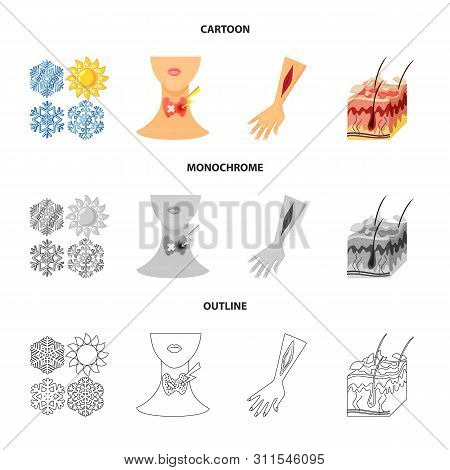 Vector Illustration Of Medical And Pain Logo. Set Of Medical And Disease Vector Icon For Stock.