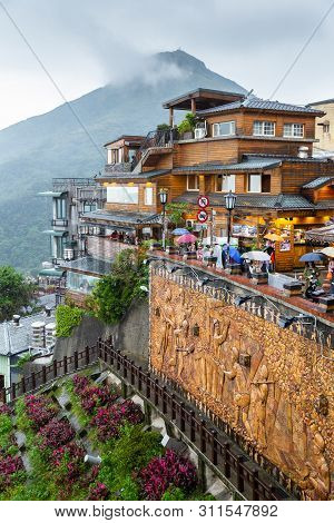 Jiufen, Taiwan - November 9, 2017: Jiufen Historical Township On Hill In North Part Of Taiwan On Clo