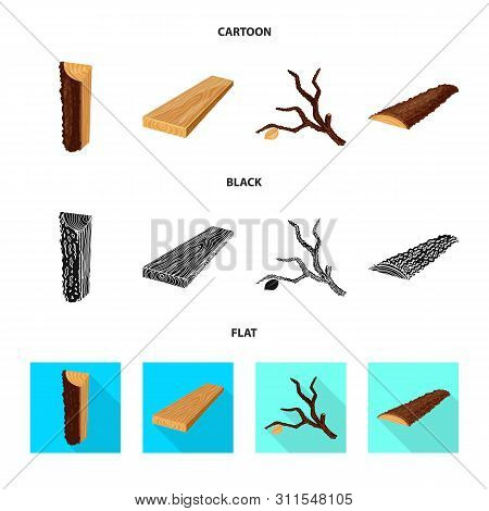 Vector Illustration Of Tree And Raw Icon. Collection Of Tree And Construction Vector Icon For Stock.