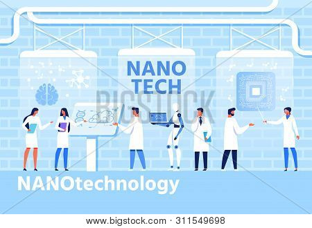 Nano Techology Development Flat Cartoon Banner. Vector Scientific Laboratory And Coworking Researche