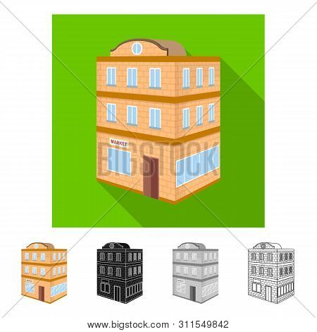 Isolated Object Of Restaurant And Courthouse Symbol. Collection Of Restaurant And School Vector Icon