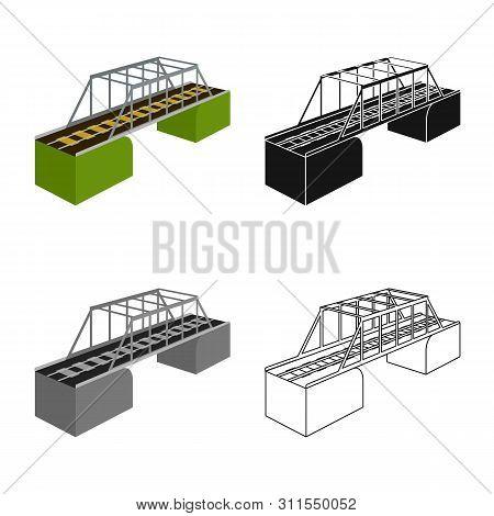 Vector Design Of Bridge And Sea Symbol. Set Of Bridge And Columns Stock Symbol For Web.