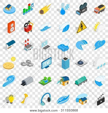 Vigor Icons Set. Isometric Style Of 36 Vigor Vector Icons For Web For Any Design