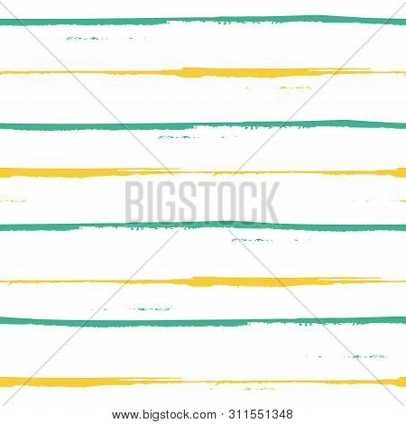 Spacious Hand Painted Blue And Yellow Grunge Stripes Design. Seamless Geometric Vector Pattern On Fr