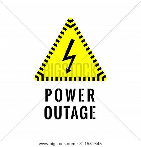 Power Outage Symbol. Electricity Symbol On Yellow Caution Triangle With Text Below