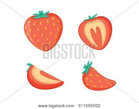 Set Of Fruits. Summer Fruit Collection. Fruits Strawberry. Vegetarian And Ecology Food. Vector Illus