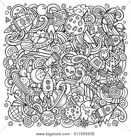 Cartoon Vector Doodles Space Illustration. Sketchy Background