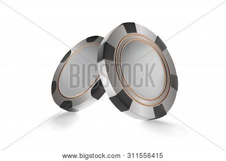 Casino Chips, Isolated On White. Casino Game 3d Chips. Online Casino Banner. Black Realistic Chip. G